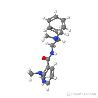 Ball-and-stick model of 2-(dimethylamino)-N-[2-(dimethylamino)-2-phenylethyl]pyridine-3-carboxamide