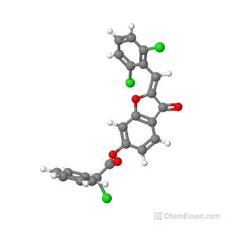Ball-and-stick model of (2Z)-2-[(2,6-dichlorophenyl)methylidene]-3-oxo-2,3-dihydro-1-benzofuran-6-yl 2-chloro-2-phenylacetate