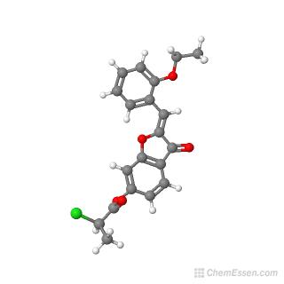 Ball-and-stick model of (2Z)-2-[(2-ethoxyphenyl)methylidene]-3-oxo-2,3-dihydro-1-benzofuran-6-yl 2-chloropropanoate
