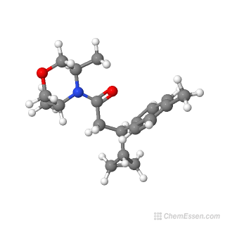 Ball-and-stick model of 3-cyclopropyl-1-(3,5-dimethylmorpholin-4-yl)-3-(4-methylphenyl)propan-1-one