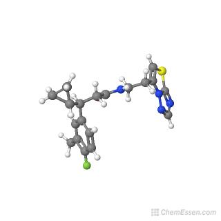 Ball-and-stick model of 3-cyclopropyl-3-(4-fluoro-3-methylphenyl)-N-(2-{[1,2,4]triazolo[3,2-b][1,3]thiazol-6-yl}ethyl)propanamide