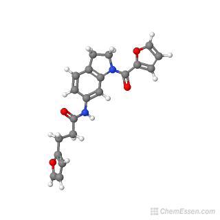 Ball-and-stick model of 3-(furan-2-yl)-N-{1-[(furan-2-yl)carbonyl]-2,3-dihydro-1H-indol-6-yl}propanamide