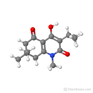 Ball-and-stick model of 4-hydroxy-1,7,7-trimethyl-3-(propan-2-yl)-1,2,5,6,7,8-hexahydroquinoline-2,5-dione