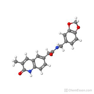 Ball-and-stick model of N-(2H-1,3-benzodioxol-5-ylmethyl)-2-(3-methyl-2-oxo-1,2-dihydroquinolin-6-yl)acetamide
