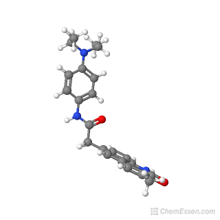 Ball-and-stick model of N-[4-(diethylamino)phenyl]-2-(3-methyl-2-oxo-1,2-dihydroquinolin-6-yl)acetamide