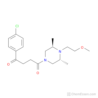 2D chemical structure image of 1-(4-chlorophenyl)-4-[4-(2-methoxyethyl)-3,5-dimethylpiperazin-1-yl]butane-1,4-dione