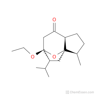 2D chemical structure image of (1R,2R,5S,8S,9R)-8-ethoxy-2-methyl-9-(propan-2-yl)-11-oxatricyclo[6.2.1.0^{1,5}]undecan-6-one