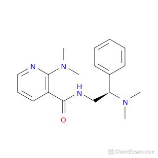 2D chemical structure image of 2-(dimethylamino)-N-[2-(dimethylamino)-2-phenylethyl]pyridine-3-carboxamide