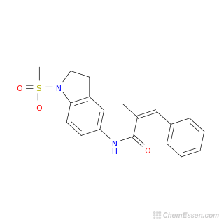 2D chemical structure image of (2E)-N-(1-methanesulfonyl-2,3-dihydro-1H-indol-5-yl)-2-methyl-3-phenylprop-2-enamide