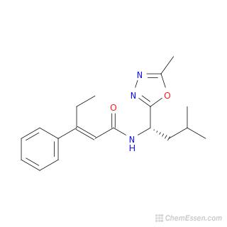 2D chemical structure image of (2E)-N-[3-methyl-1-(5-methyl-1,3,4-oxadiazol-2-yl)butyl]-3-phenylpent-2-enamide