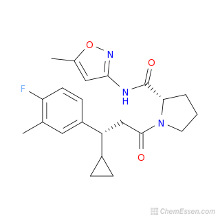 2D chemical structure image of (2S)-1-[3-cyclopropyl-3-(4-fluoro-3-methylphenyl)propanoyl]-N-(5-methyl-1,2-oxazol-3-yl)pyrrolidine-2-carboxamide