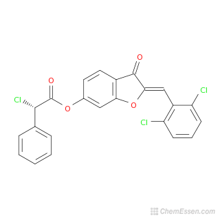 2D chemical structure image of (2Z)-2-[(2,6-dichlorophenyl)methylidene]-3-oxo-2,3-dihydro-1-benzofuran-6-yl 2-chloro-2-phenylacetate