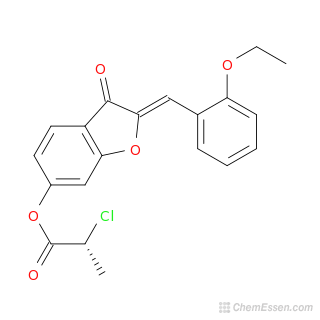 2D chemical structure image of (2Z)-2-[(2-ethoxyphenyl)methylidene]-3-oxo-2,3-dihydro-1-benzofuran-6-yl 2-chloropropanoate