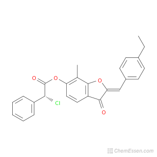 2D chemical structure image of (2Z)-2-[(4-ethylphenyl)methylidene]-7-methyl-3-oxo-2,3-dihydro-1-benzofuran-6-yl 2-chloro-2-phenylacetate