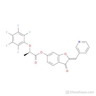 2D chemical structure image of (2Z)-3-oxo-2-(pyridin-3-ylmethylidene)-2,3-dihydro-1-benzofuran-6-yl 2-(2,3,4,5,6-pentafluorophenoxy)propanoate