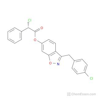 2D chemical structure image of 3-[(4-chlorophenyl)methyl]-1,2-benzoxazol-6-yl 2-chloro-2-phenylacetate