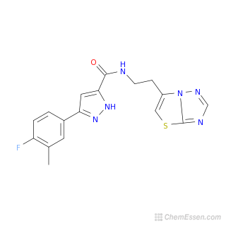 2D chemical structure image of 3-(4-fluoro-3-methylphenyl)-N-(2-{[1,2,4]triazolo[3,2-b][1,3]thiazol-6-yl}ethyl)-1H-pyrazole-5-carboxamide
