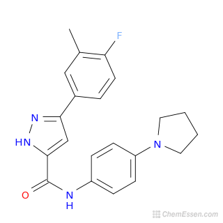 2D chemical structure image of 3-(4-fluoro-3-methylphenyl)-N-[4-(pyrrolidin-1-yl)phenyl]-1H-pyrazole-5-carboxamide