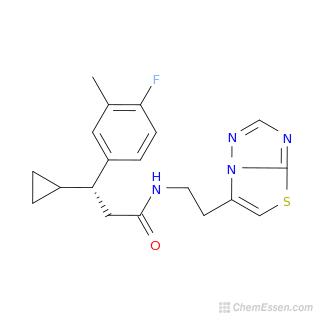 2D chemical structure image of 3-cyclopropyl-3-(4-fluoro-3-methylphenyl)-N-(2-{[1,2,4]triazolo[3,2-b][1,3]thiazol-6-yl}ethyl)propanamide
