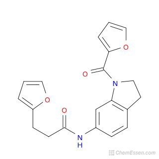 2D chemical structure image of 3-(furan-2-yl)-N-{1-[(furan-2-yl)carbonyl]-2,3-dihydro-1H-indol-6-yl}propanamide