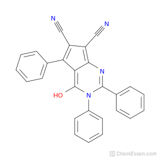 2D chemical structure image of 4-hydroxy-2,3,5-triphenyl-3H-cyclopenta[d]pyrimidine-6,7-dicarbonitrile