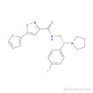 2D chemical structure image of N-[2-(4-fluorophenyl)-2-(pyrrolidin-1-yl)ethyl]-5-(furan-2-yl)-1,2-oxazole-3-carboxamide