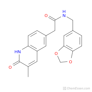 2D chemical structure image of N-(2H-1,3-benzodioxol-5-ylmethyl)-2-(3-methyl-2-oxo-1,2-dihydroquinolin-6-yl)acetamide