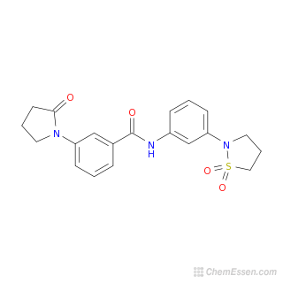 2D chemical structure image of N-[3-(1,1-dioxo-1$l^{6},2-thiazolidin-2-yl)phenyl]-3-(2-oxopyrrolidin-1-yl)benzamide