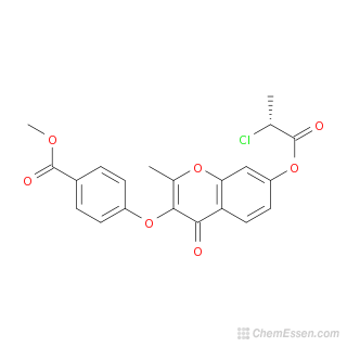 2D chemical structure image of methyl 4-({7-[(2-chloropropanoyl)oxy]-2-methyl-4-oxo-4H-chromen-3-yl}oxy)benzoate